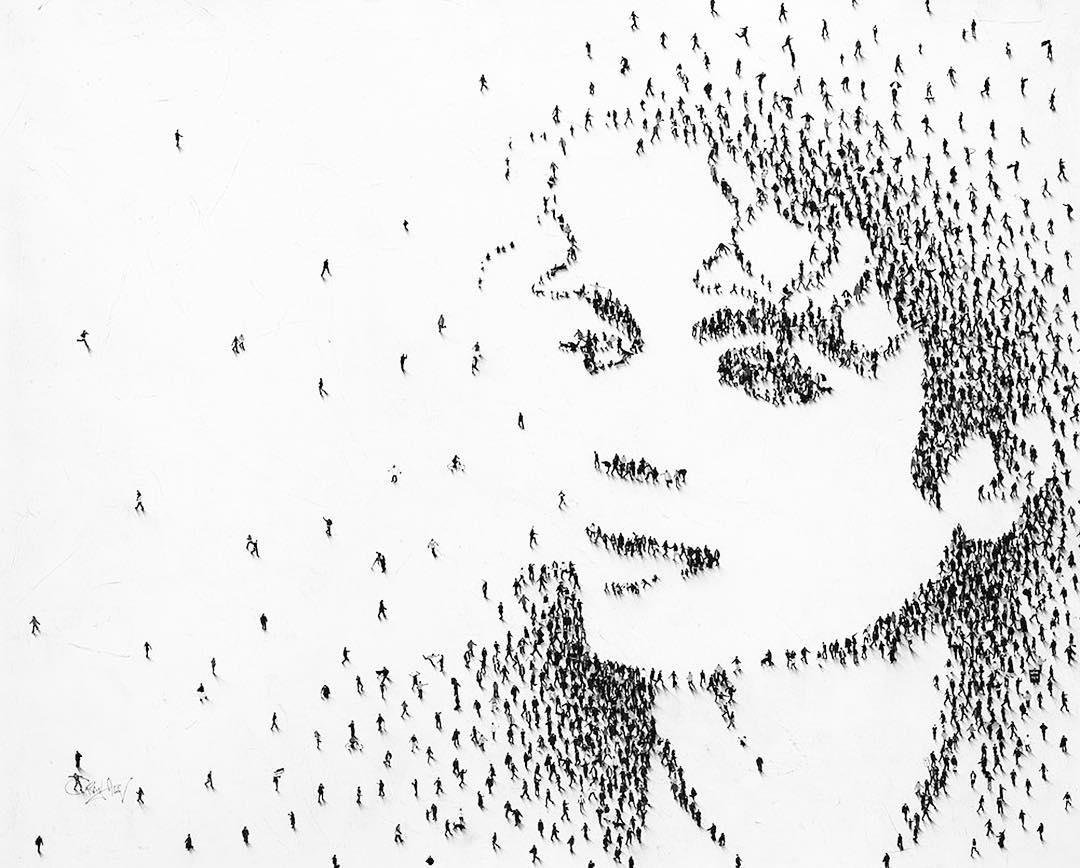 Chân dung các nhân vật nổi tiếng được tạo thành bởi hình vẽ của hàng nghìn bóng người tí hon