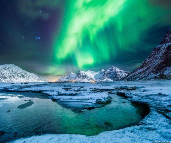 Hiện tượng cực quang (Northern Lights) vào mùa đông ở Iceland